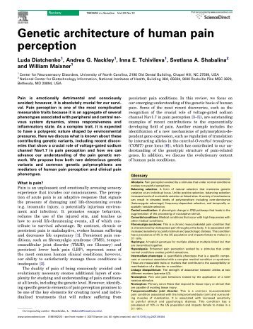 (2007) - Genetic architecture of human pain perception