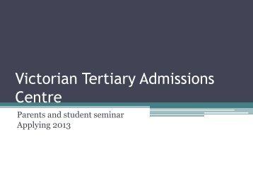 VTAC parents-session-2012-13 - Whitefriars
