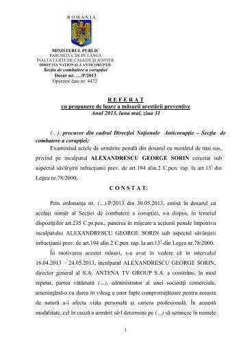 Referatul DNA in cazul Sorin Alexandrescu - HotNews.ro