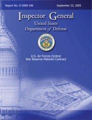 D-2009-108 U.S. Air Forces Central War Reserve Materiel Contract