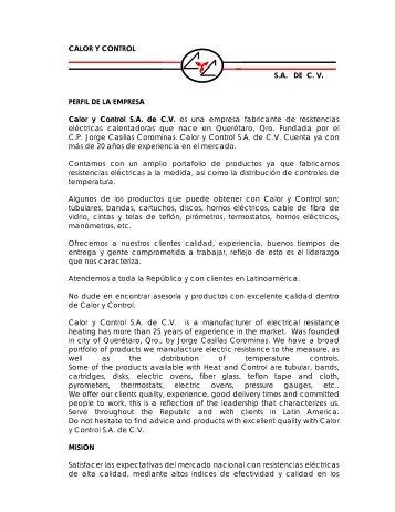 CALOR Y CONTROL S.A. DE C. V. PERFIL DE LA ... - QuimiNet.com