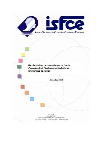 Plan de suivi Informatique ISFCE - Agence pour l'Evaluation de la ...