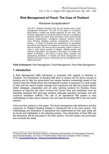 Risk Management of Flood: The Case of Thailand - Wbiaus.org