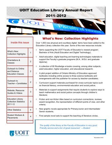 UOIT Education Library_annualreport2011-12 - University of Ontario ...