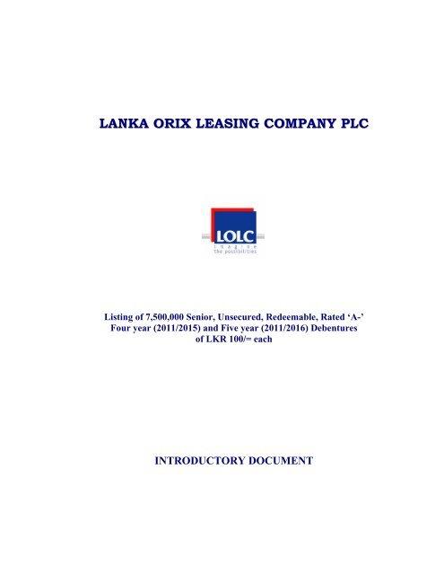 LANKA ORIX LEASING COMPANY PL CC - Colombo Stock Exchange