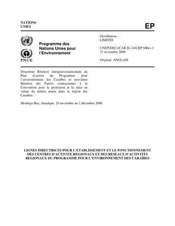 Programme des Nations Unies pour l'Environnement - Caribbean ...