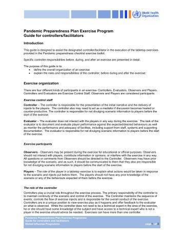 Pandemic Preparedness Plan Exercise Program Guide for ...