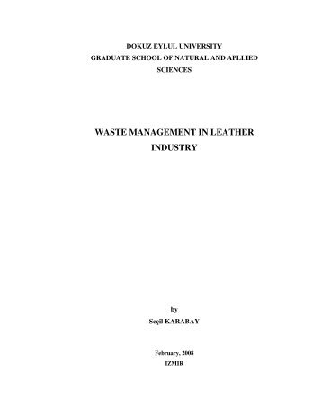 WASTE MANAGEMENT IN LEATHER INDUSTRY