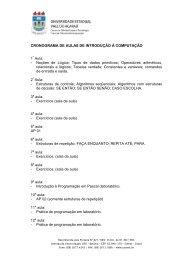 CRONOGRAMA DE AULAS DE INTRODUÇÃO À ... - Hudson Costa