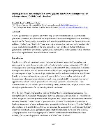 Development of new tetraploid Chloris gayana cultivars with ...