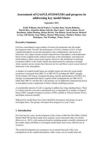 Assessment of GA4/GL4/GO4/GSI4 and progress in ... - Met Office