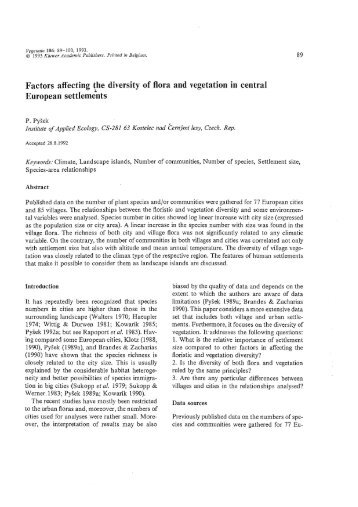 Factors affecting {he diversity of flora and vegetation in central ...