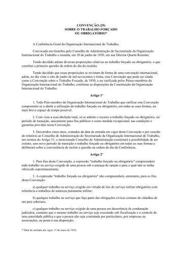 CONVENÇÃO (29) - Organização Internacional do Trabalho