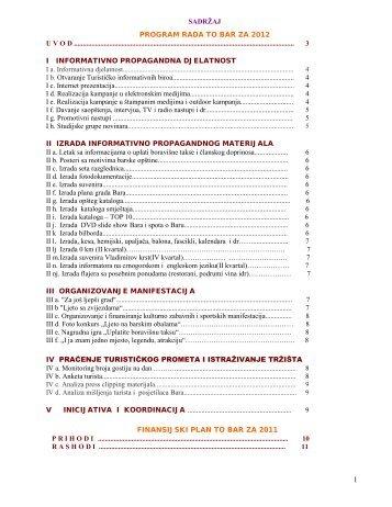 13. Program rada i finansijski plan Turističke organizacije Bar za ...