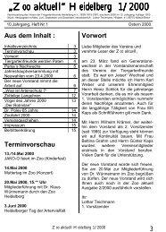 """Zoo aktuell"" Heidelberg 1/2000 - Tiergartenfreunde Heidelberg eV"