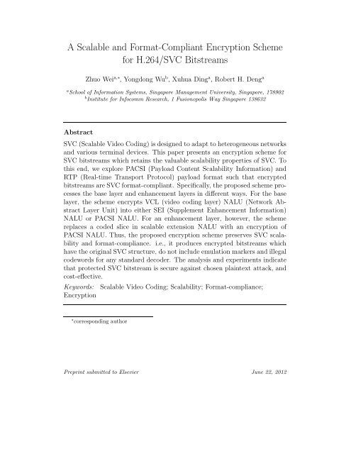 A Scalable and Format-Compliant Encryption Scheme for H.264 ...