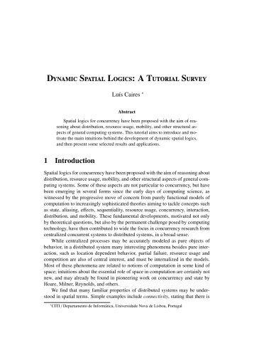 Dynamic Spatial Logics - Universidade Nova de Lisboa