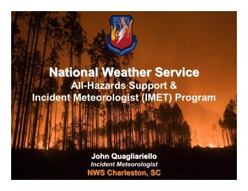 Incident Meteorologists - U.S. National Response Team (NRT)