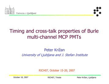 Timing and cross-talk properties of Burle MCP PMTs, RICH2007 ... - F9