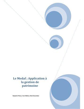 Le Medaf ; Application à la gestion de patrimoine