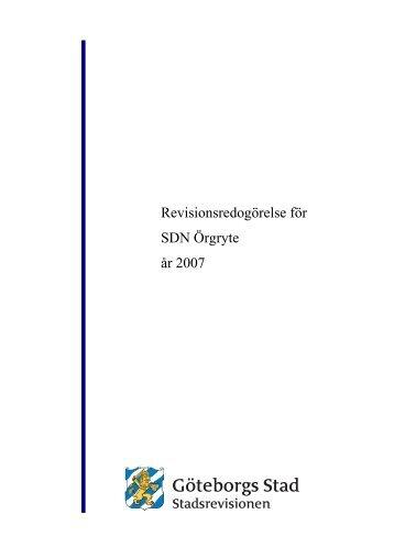 Revisionsredogörelse för SDN Örgryte år 2007 - Göteborg