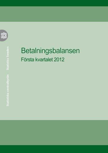 Betalningsbalansen (pdf) - Statistiska centralbyrån
