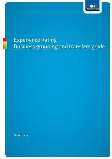Experience Rating Business grouping and transfers guide - ACC