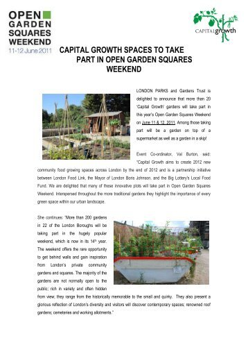 capital growth spaces to take part in open garden squares weekend