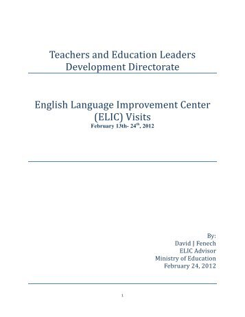 (ELIC) Visits - Ministry of Education Supplementary Website - MOE