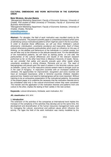 CULTURAL DIMENSIONS AND WORK MOTIVATION IN THE ...