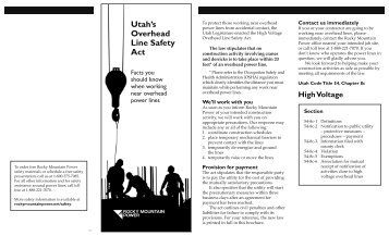Utah's Overhead Line Safety Act - Rocky Mountain Power