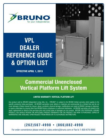 VPL DEALER REFERENCE GUIDE & OPTION LIST - Bruno