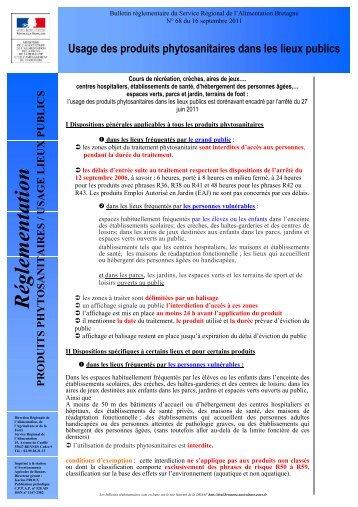 Bulletin réglementaire du Service Régional de l'Alimentation