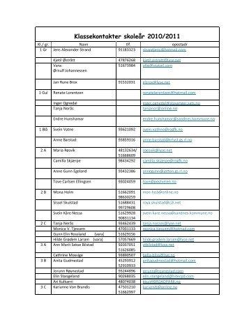 Klassekontakter skoleår 2010/2011 - Linksidene