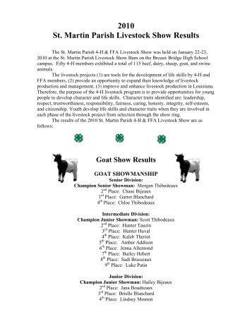 2010 St. Martin Parish Livestock Show Results