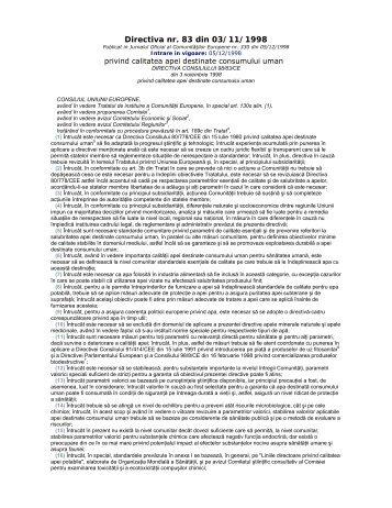 Directiva nr.83 din 3 Noiembrie 1998 privind calitatea ... - Aquademica