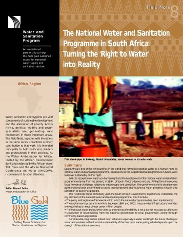 The National Water and Sanitation Programme in South Africa - WSP