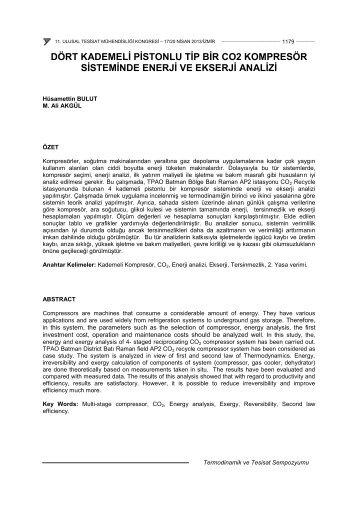 Dört Kademeli Pistonlu Tip Bir CO 2 Kompresör Sisteminde Enerji ...
