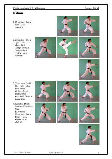Prüfungsordnung 3. Kyu Shotokan brauner Gürtel 1. Zenkutsu ...