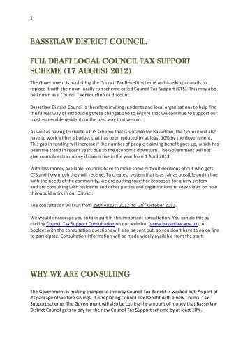 bassetlaw district council. full draft local council tax support scheme