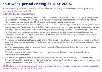 Four week period ending 21 June 2008. - Northern Rail