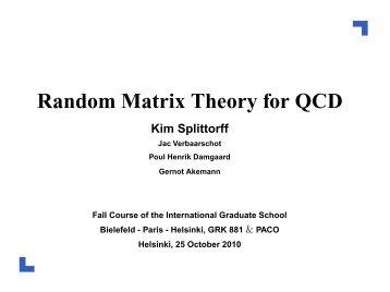 Random Matrix Theory for QCD