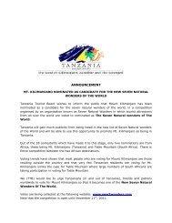 ANNOUNCEMENT - Tanzania Tourist Board
