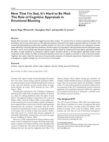 The Role of Cognitive Appraisals in Emotional Blunting - Projects at ...