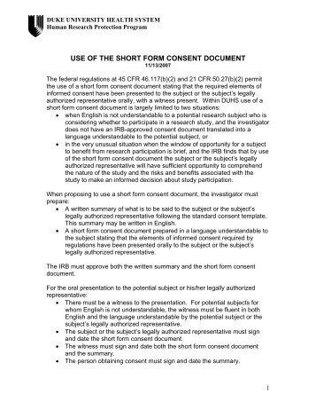 Use of the Short Form Consent Document - Duke University
