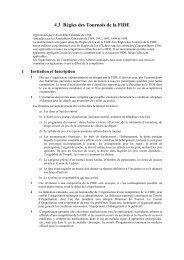 Règles des Tournois FIDE - Fédération Française des Échecs