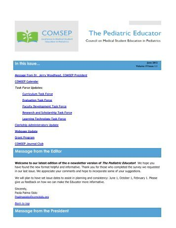 June 2012 - Council on Medical Student Education in Pediatrics