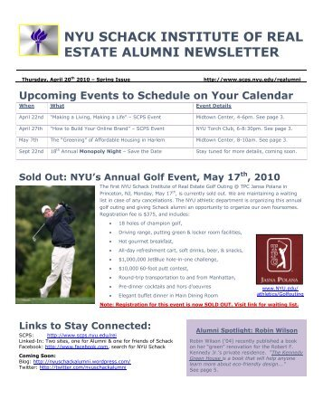 nyu schack institute of real estate alumni newsletter - School of ...