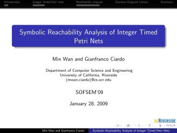Symbolic Reachability Analysis of Integer Timed Petri Nets