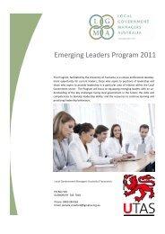 Emerging Leaders Program 2011 - LGMA Tas Homepage - Local ...